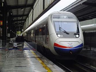 TCDD's premier high-speed rail service, Yüksek Hızlı Tren, waiting to depart Ankara.
