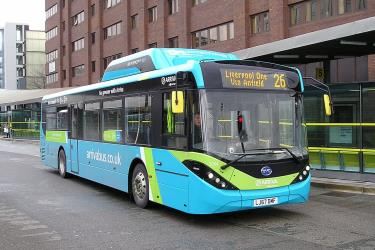 Electric bus in Liverpool