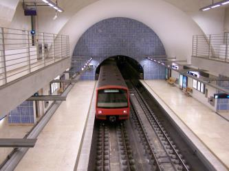 Train of the Lisbon Metro in Telheiras station (Green Line)