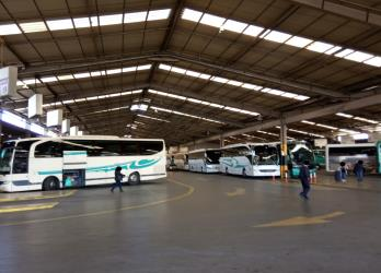 KTEL buses at the intercity bus station in Athens