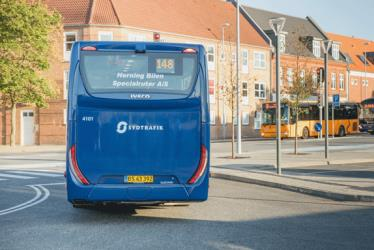 Blue bus (regional and local) rear view