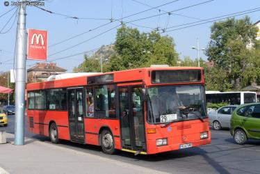 Bus in front of the railway station in Plovdiv