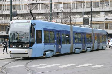 Oslo tram with typical blue colour