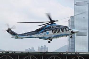 Sky Shuttle Helicopter landing at the Shun Tak Heliport
