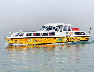 Water bus decorated in a Carnival theme