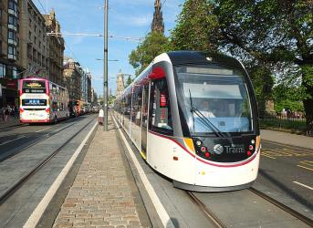 Tram in Princes Street on the day the line opened