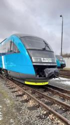 Bright blue trains in the Liberec region