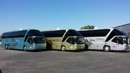 Three different StarLiner Class bus coaches