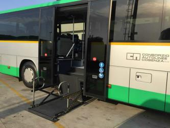Bus side entrance with disabled access