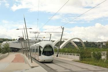 Tram after crossing The Rhône